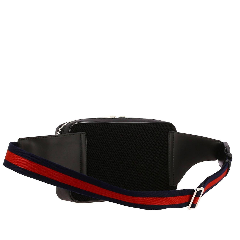 Kleine Full Zip Bauchtasche mit durchgehendem Reißverschluss aus GG Supreme Gucci-Leder mit Web-Schultergurt schwarz 3
