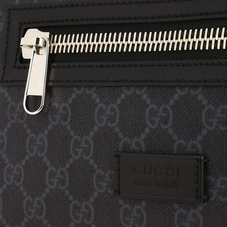 Kleine Full Zip Bauchtasche mit durchgehendem Reißverschluss aus GG Supreme Gucci-Leder mit Web-Schultergurt schwarz 4