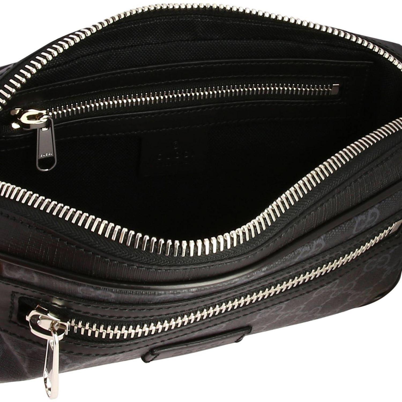 Kleine Full Zip Bauchtasche mit durchgehendem Reißverschluss aus GG Supreme Gucci-Leder mit Web-Schultergurt schwarz 5