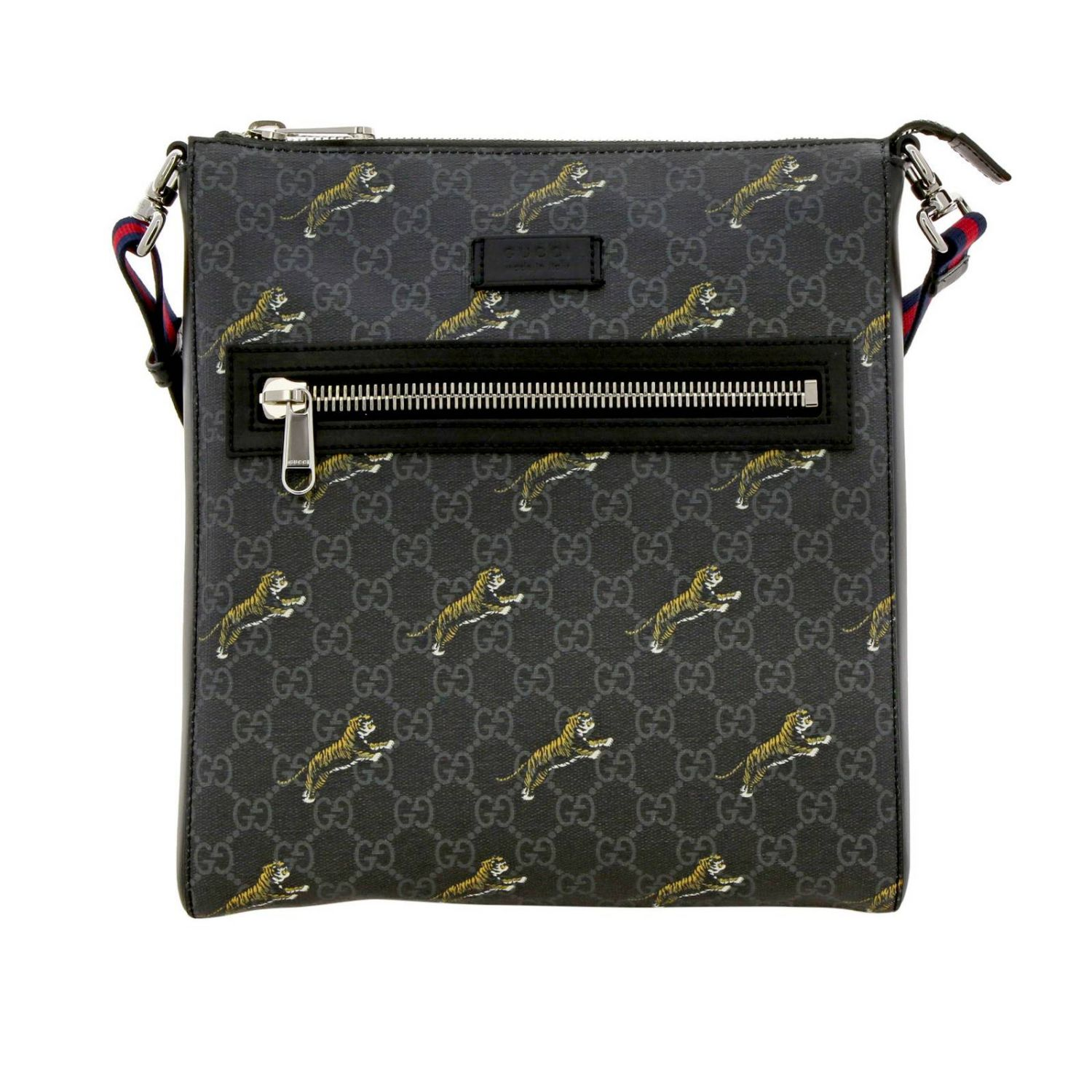 Borsello in pelle con stampa tigre all over e monogramma GG Gucci nero 1