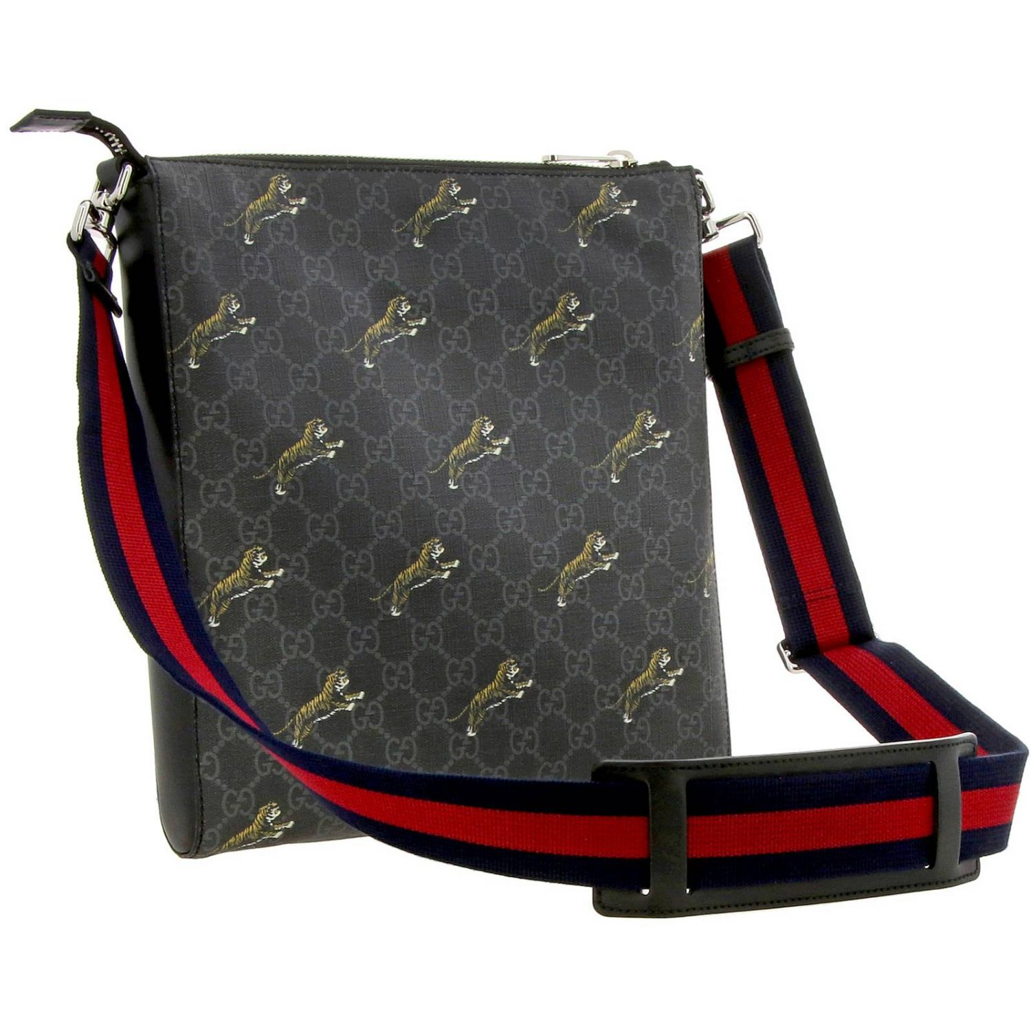 Borsello in pelle con stampa tigre all over e monogramma GG Gucci nero 3