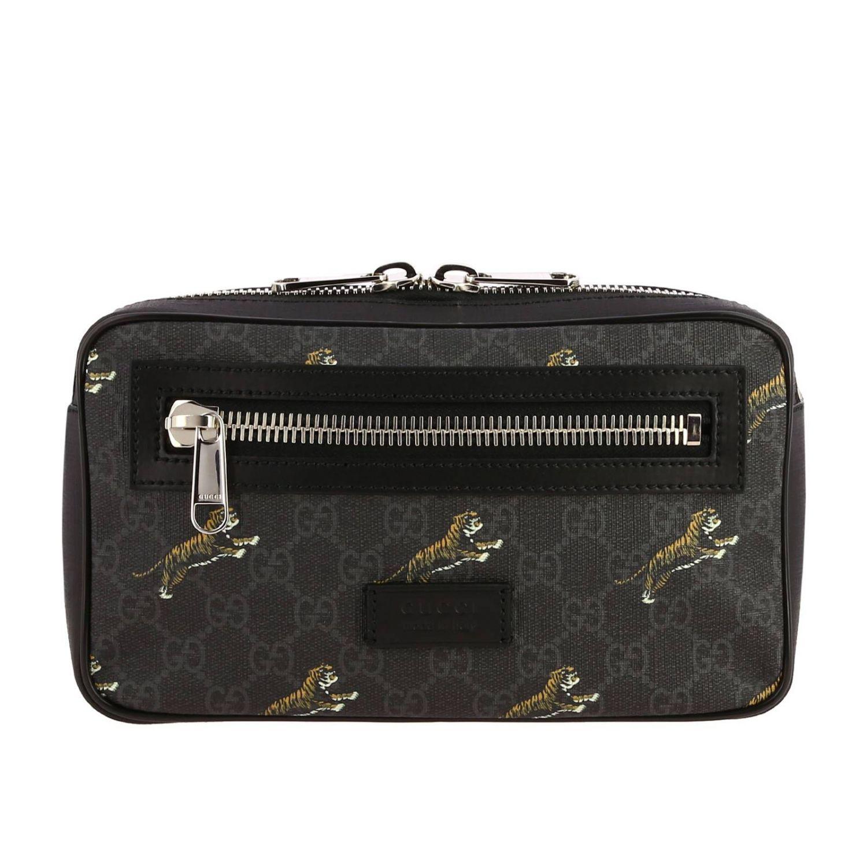 Kleine Full Zip Tasche mit durchgehendem Reißverschluss aus GG Supreme Gucci-Stoff mit Tiger-Aufdruck schwarz 1