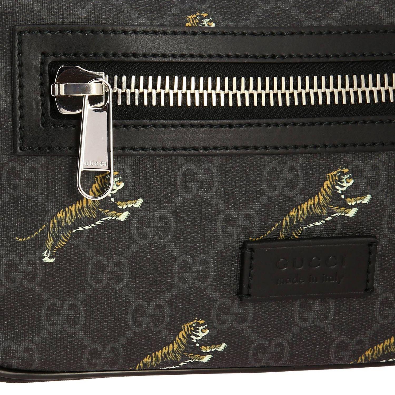 Kleine Full Zip Tasche mit durchgehendem Reißverschluss aus GG Supreme Gucci-Stoff mit Tiger-Aufdruck schwarz 4