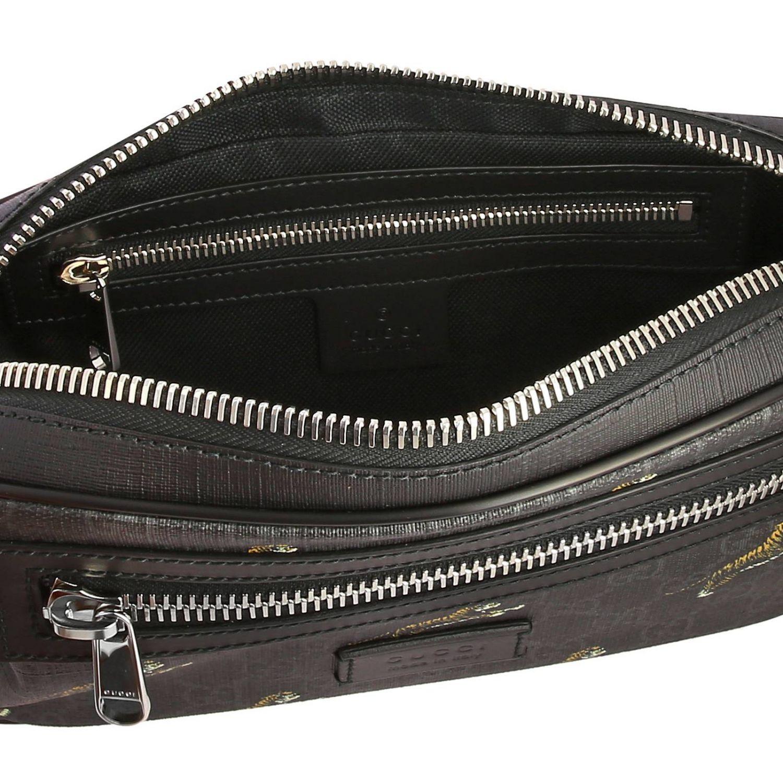 Kleine Full Zip Tasche mit durchgehendem Reißverschluss aus GG Supreme Gucci-Stoff mit Tiger-Aufdruck schwarz 5