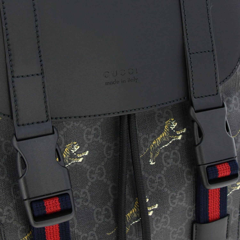 Zaino Gucci in pelle liscia e pelle GG Supreme con tigre all over nero 4