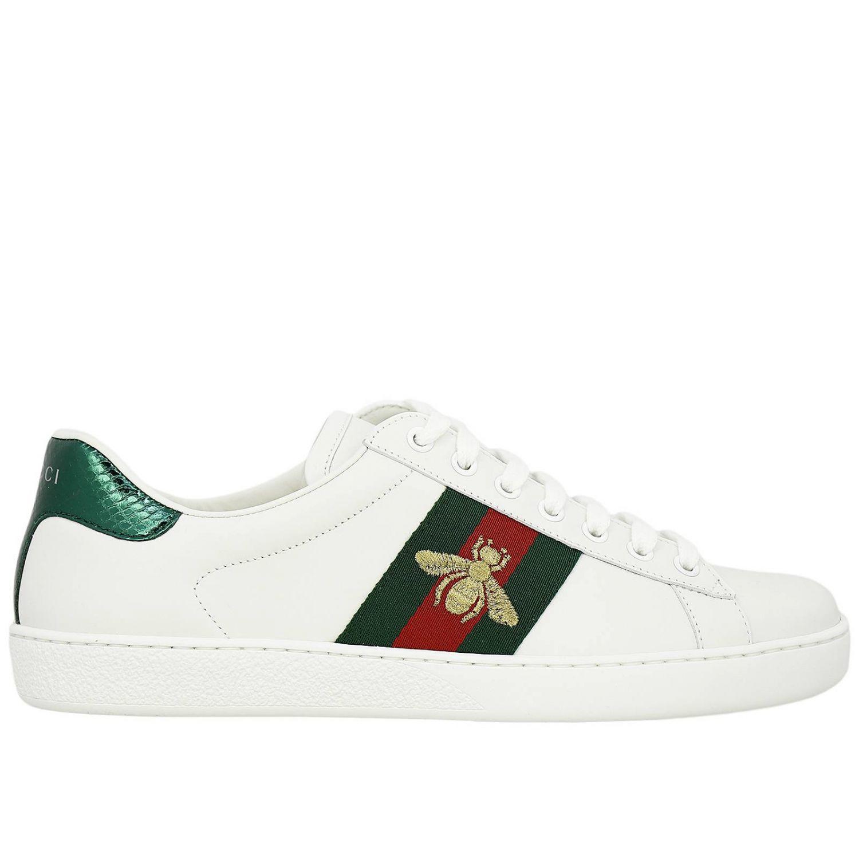 Sneakers New Ace stringata in pelle liscia con fasce Web Gucci e ricamo lurex Ape bianco 1