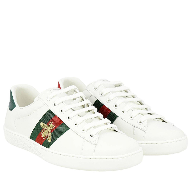 Sneakers New Ace stringata in pelle liscia con fasce Web Gucci e ricamo lurex Ape bianco 2