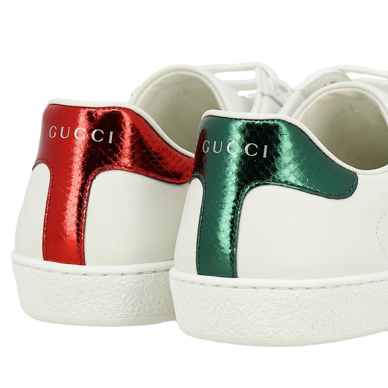 Sneakers New Ace stringata in pelle liscia con fasce Web Gucci e ricamo lurex Ape bianco 4