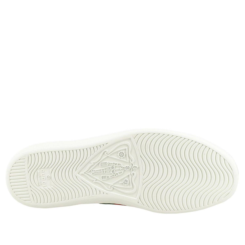 Sneakers New Ace stringata in pelle liscia con fasce Web Gucci e ricamo lurex Ape bianco 5