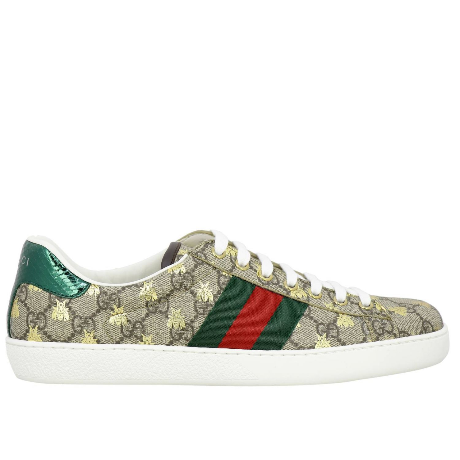 Sneakers New Ace in pelle GG Supreme Gucci con fasce Web e stampa Ape all over beige 1
