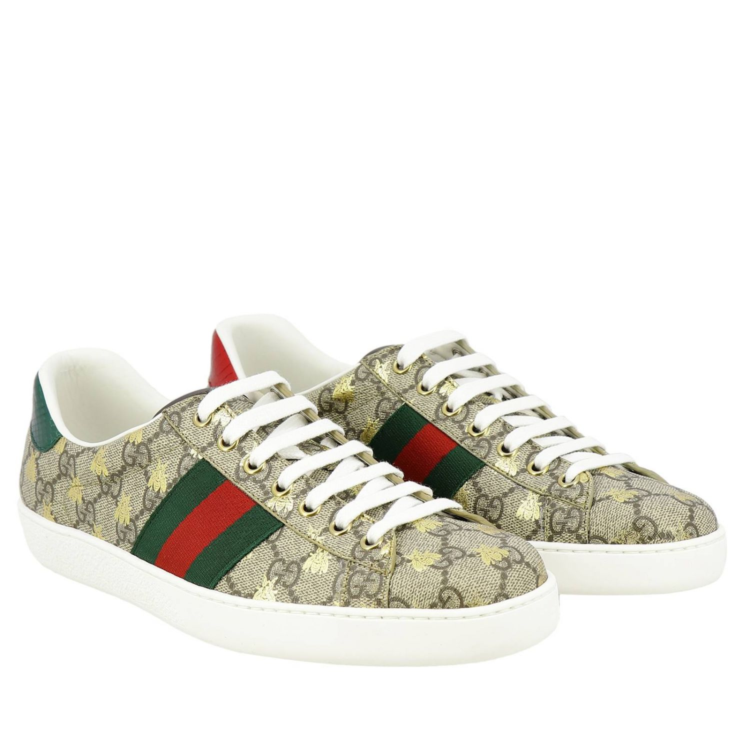 Sneakers New Ace in pelle GG Supreme Gucci con fasce Web e stampa Ape all over beige 2