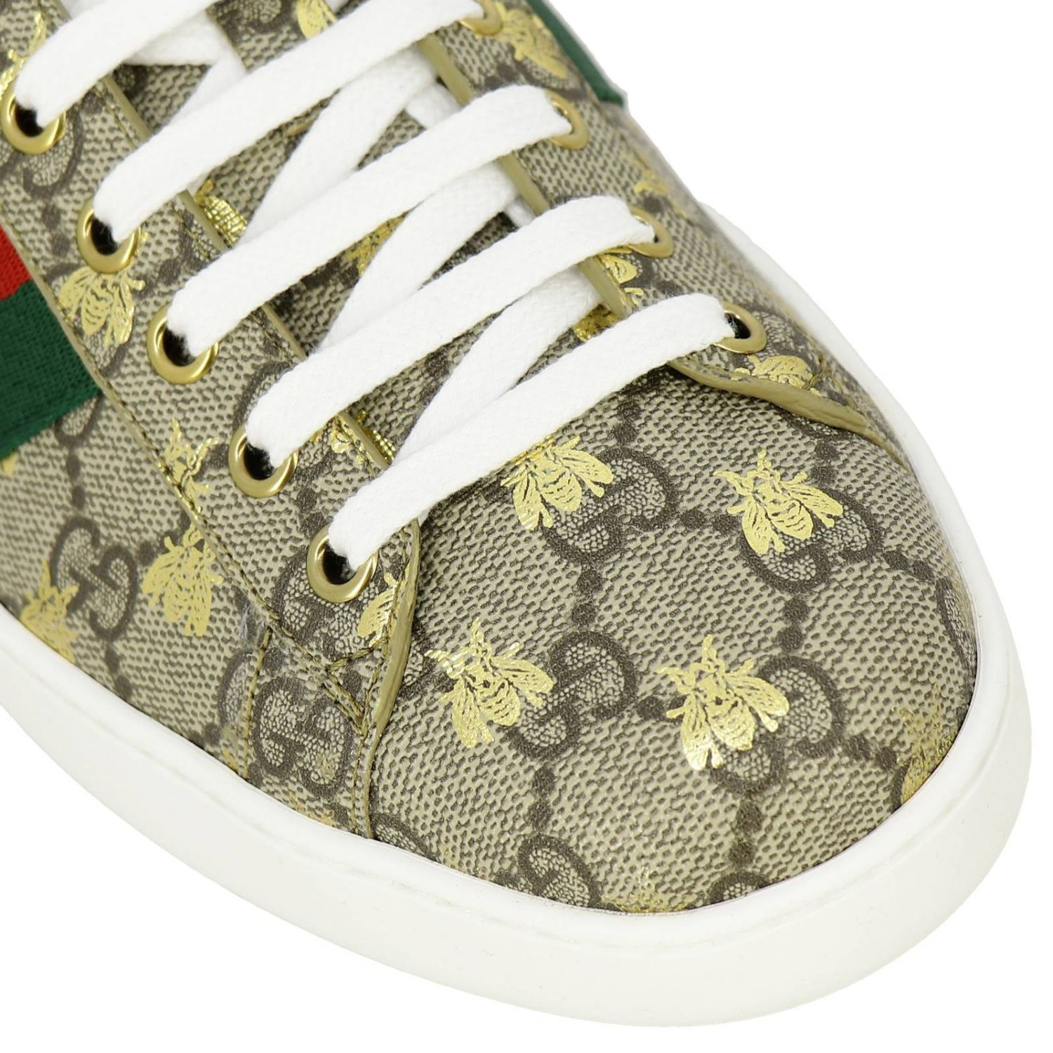 Sneakers New Ace in pelle GG Supreme Gucci con fasce Web e stampa Ape all over beige 3