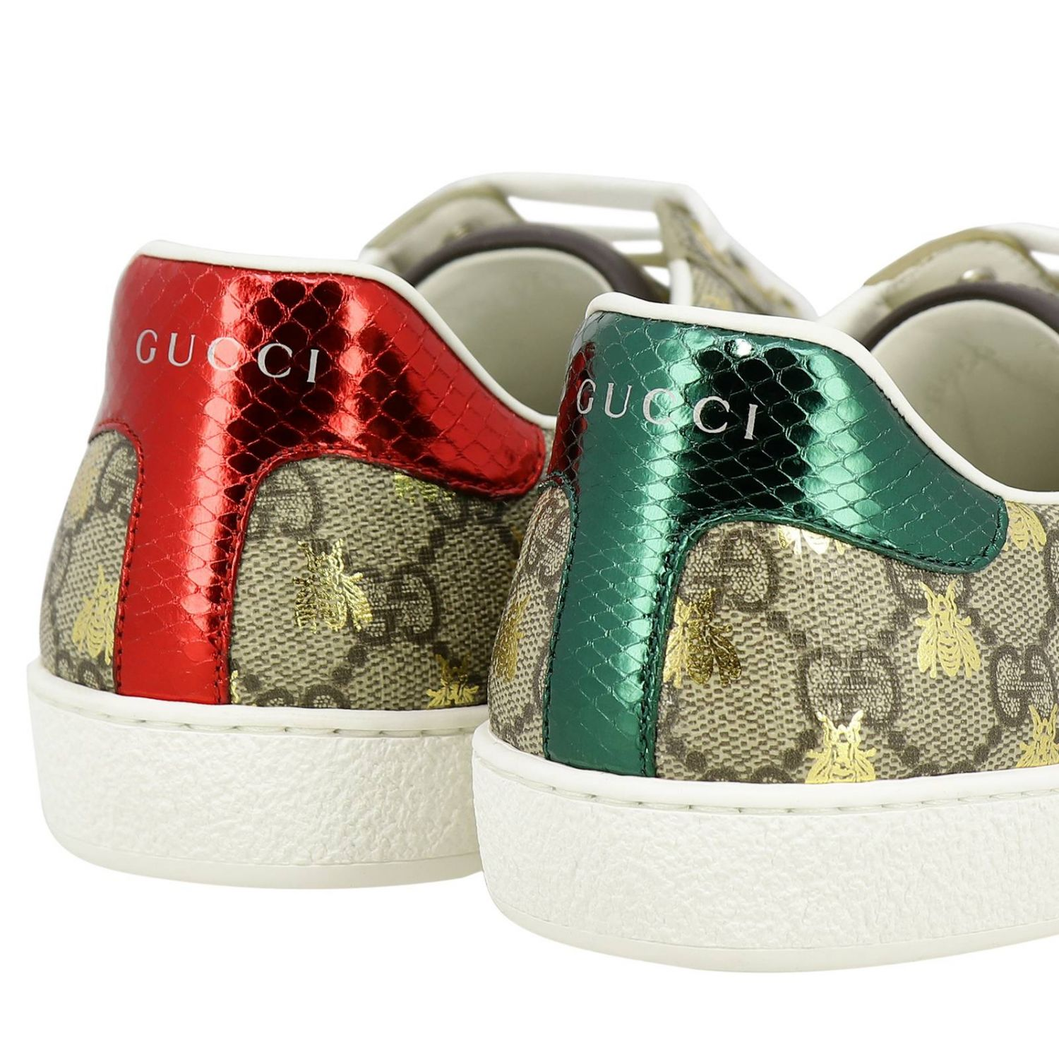 Sneakers New Ace in pelle GG Supreme Gucci con fasce Web e stampa Ape all over beige 4