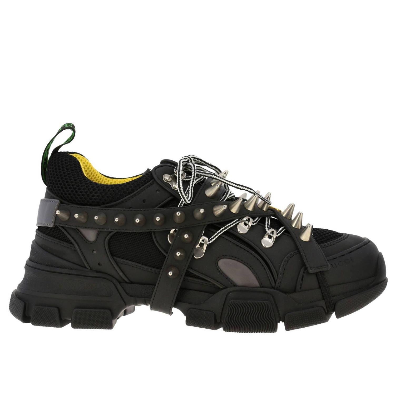 Sneakers Flashtrek running stringata in vera pelle e macro rete con gioielli di borchie amovibili nero 1