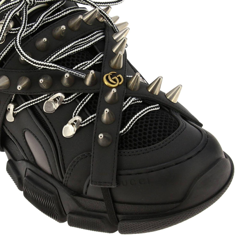 Sneakers Flashtrek running stringata in vera pelle e macro rete con gioielli di borchie amovibili nero 3
