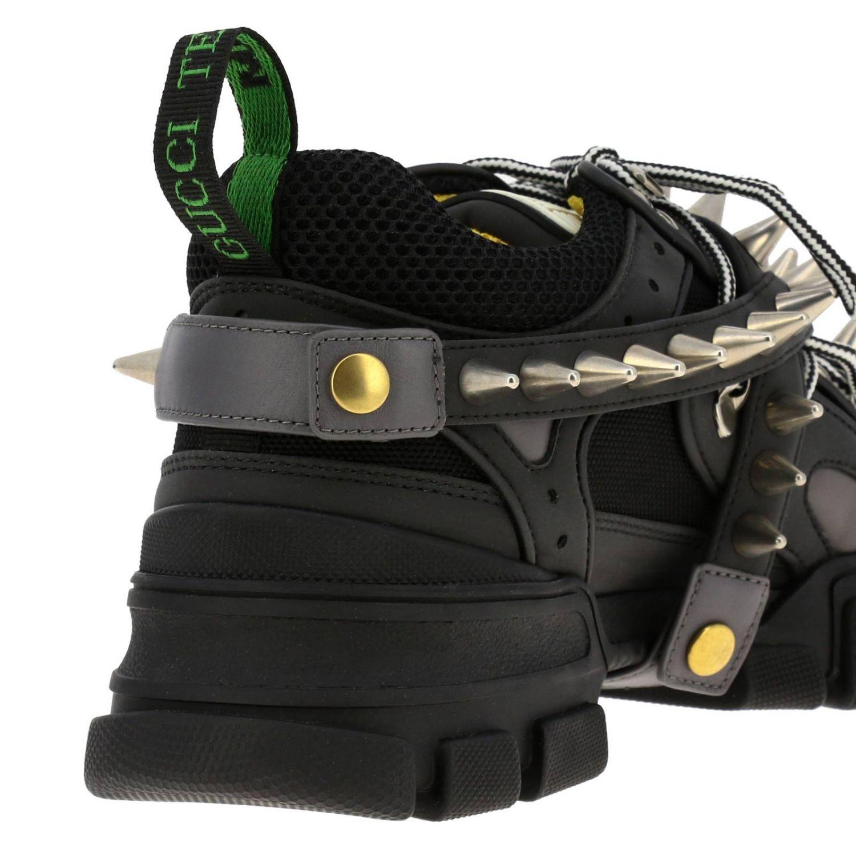 Sneakers Flashtrek running stringata in vera pelle e macro rete con gioielli di borchie amovibili nero 4