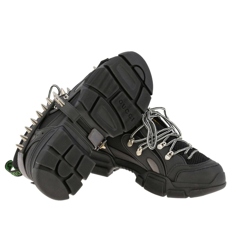 Sneakers Flashtrek running stringata in vera pelle e macro rete con gioielli di borchie amovibili nero 5