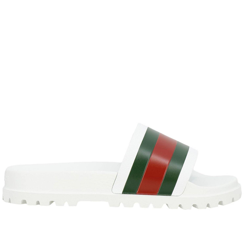 Sandalo Pursuit a ciabatta con fascia in gomma Web Gucci bianco 1