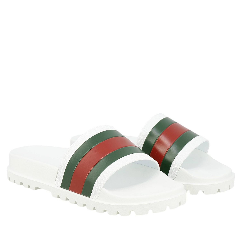 Sandalo Pursuit a ciabatta con fascia in gomma Web Gucci bianco 2
