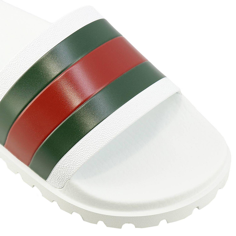 Sandalo Pursuit a ciabatta con fascia in gomma Web Gucci bianco 3