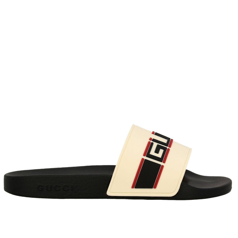 Sandalo Pursuit a ciabatta con fascia in gomma Gucci Sport bianco 1