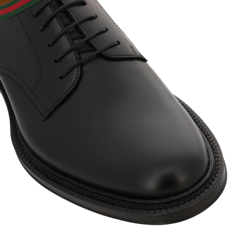 Derby Beyound stringata in vera pelle con fascia Web Gucci nero 3