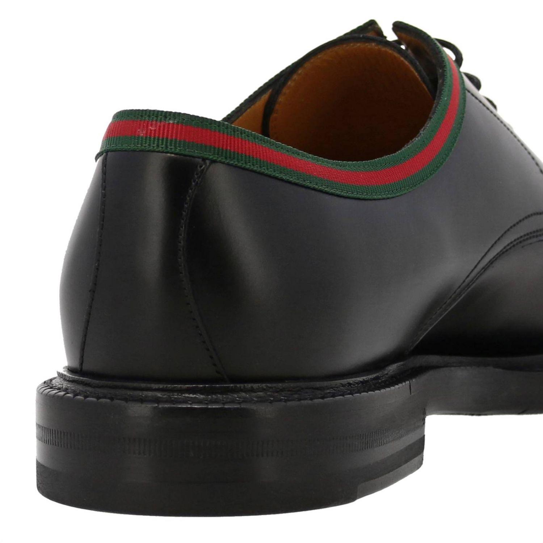Derby Beyound stringata in vera pelle con fascia Web Gucci nero 4