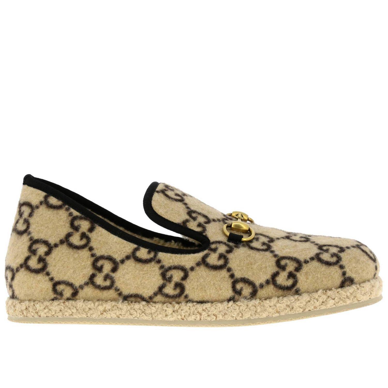 Мокасины Gucci: Мокасины Gucci из ткани GG Supreme all over с пряжкой бежевый 1