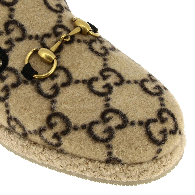 Мокасины Gucci: Мокасины Gucci из ткани GG Supreme all over с пряжкой бежевый 3