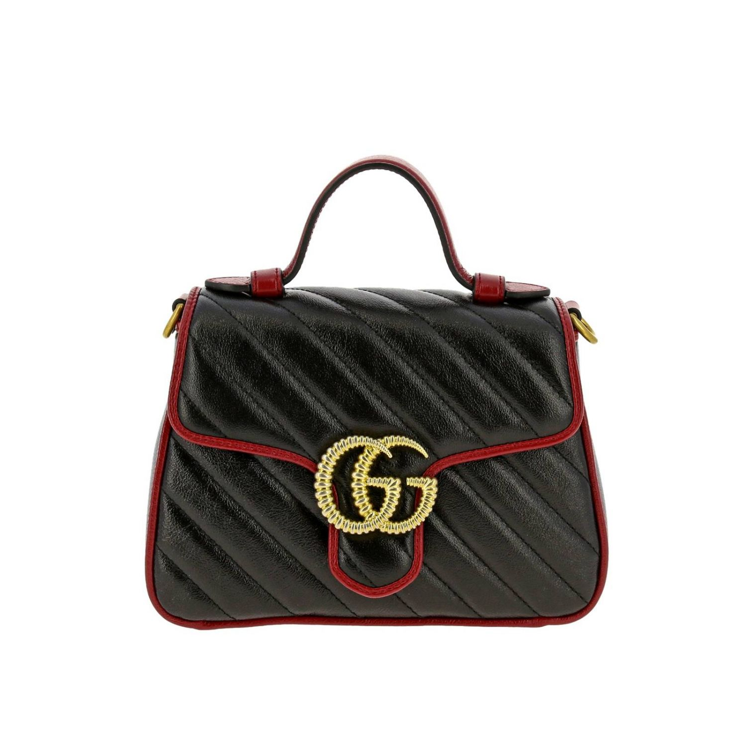 Mini bag Gucci: GG Marmont Gucci mini quilted leather bag with shoulder strap black 1