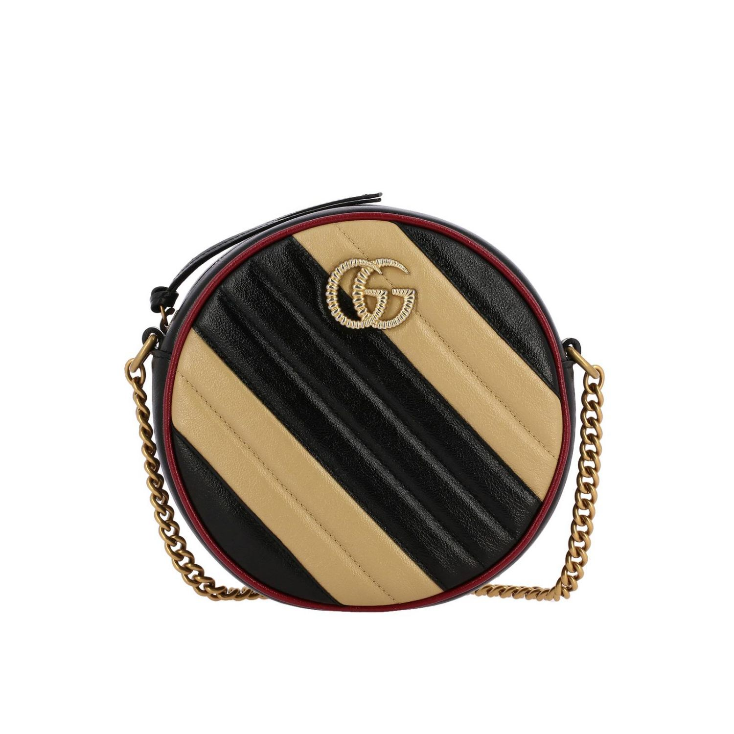 Mini bag Gucci: GG Marmont Gucci quilted leather disco bag with bicolour effect beige 1