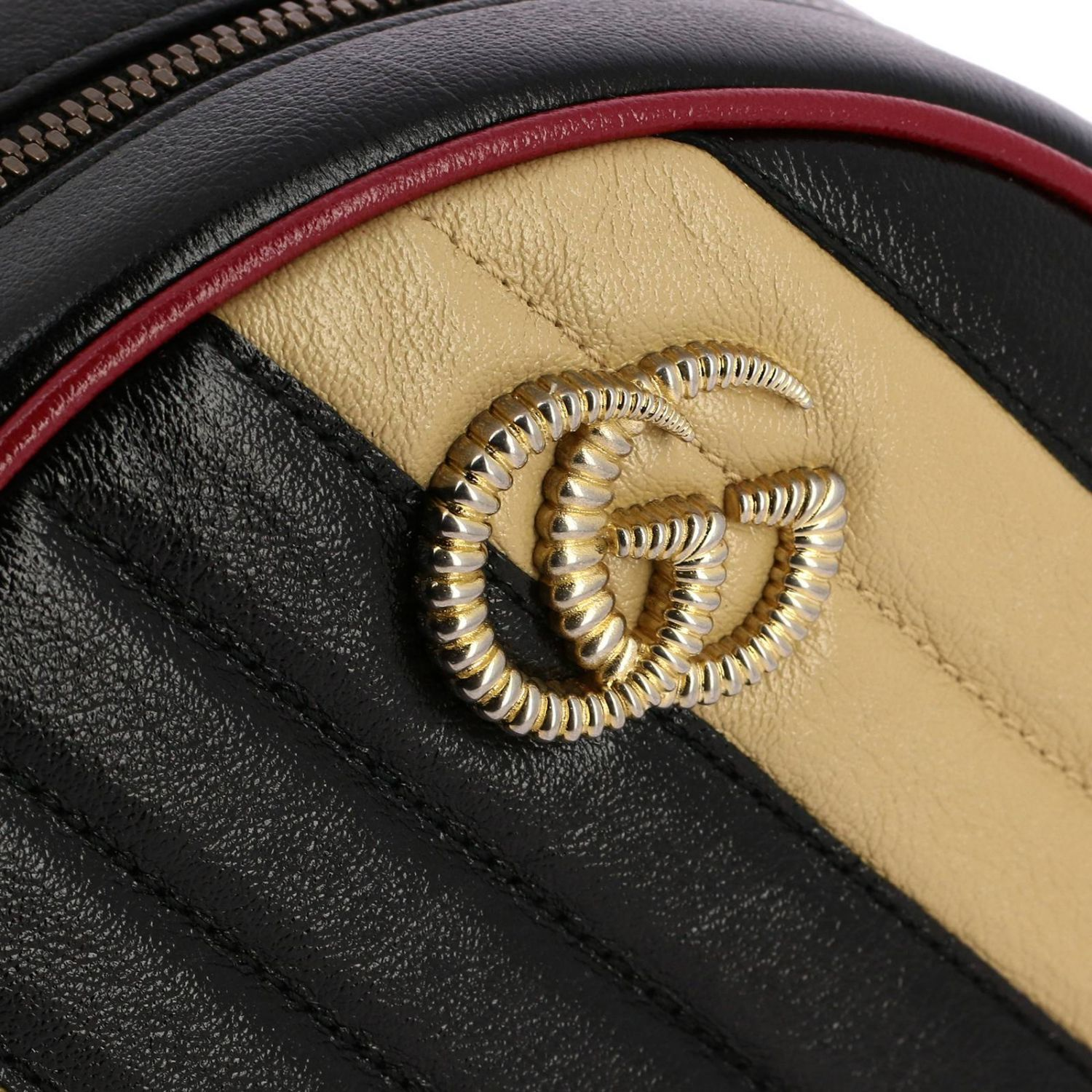 Mini bag Gucci: GG Marmont Gucci quilted leather disco bag with bicolour effect beige 4