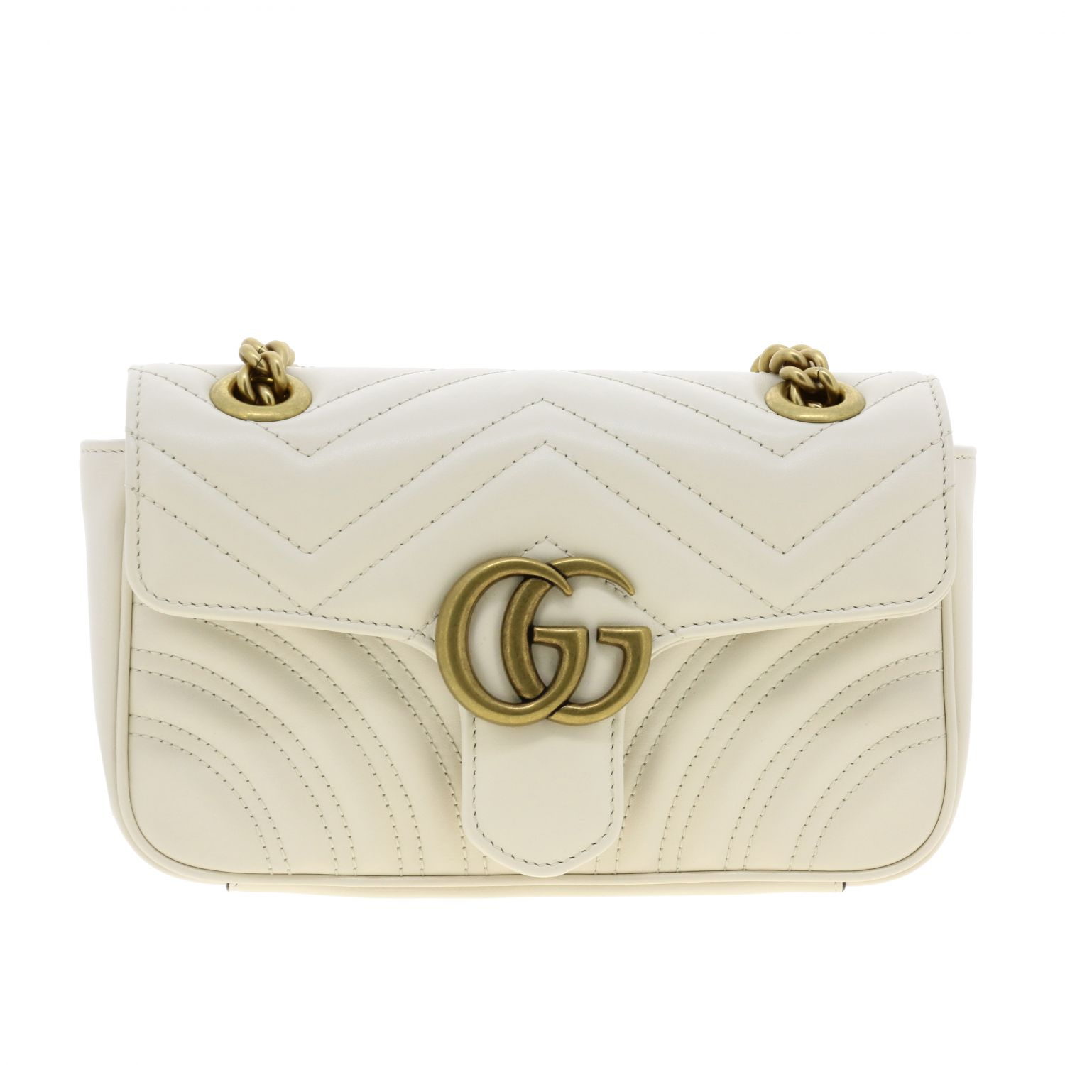 Crossbody bags Gucci: Medium GG Marmont Gucci quilted leather bag with chevron pattern white 1
