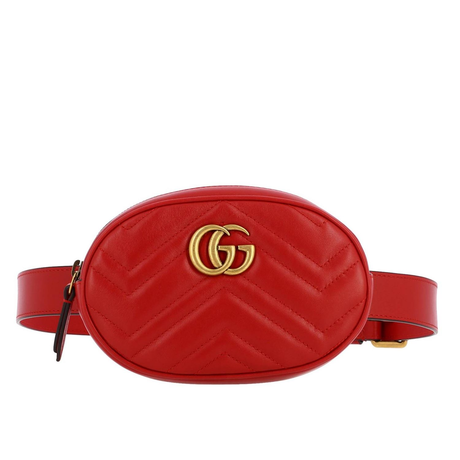 GG Marmont Gucci leather pouch in quilted chevron red 1