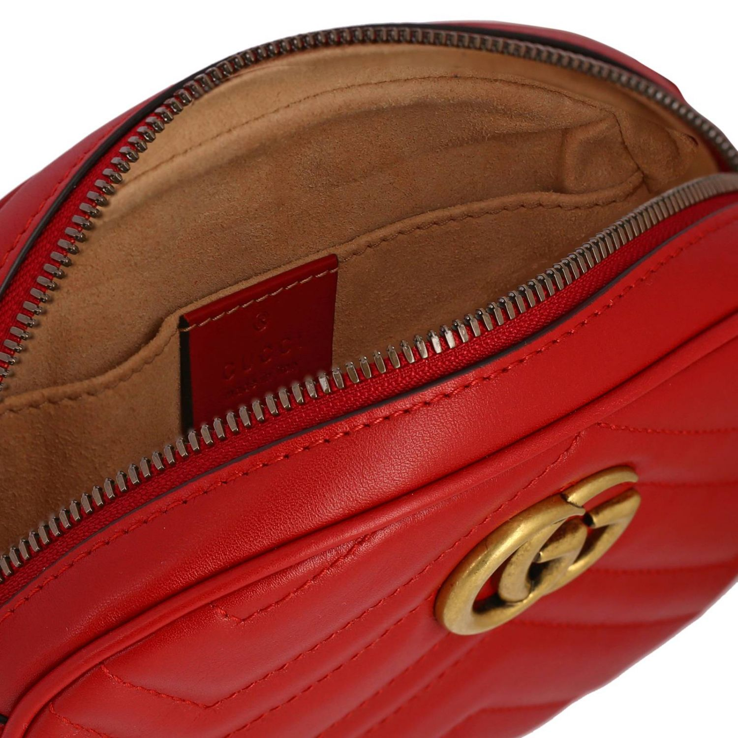 GG Marmont Gucci leather pouch in quilted chevron red 5
