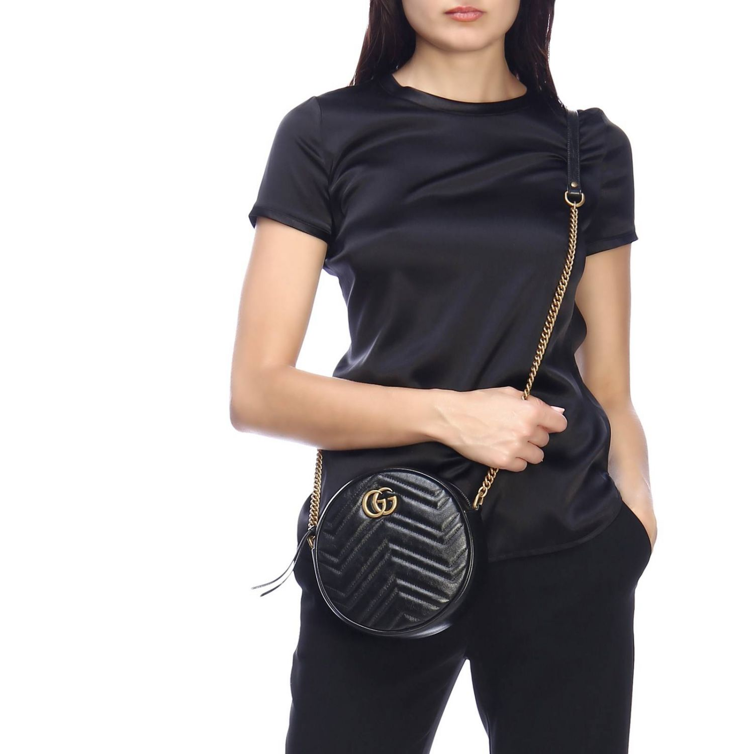 Mini bag Gucci: GG Marmont Gucci quilted leather disco bag black 2