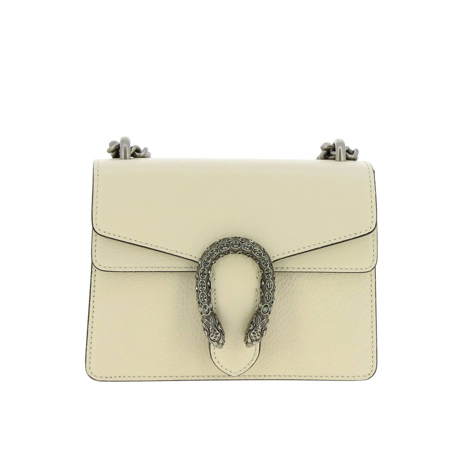 Dionysus mini bag in genuine fancy leather with buckle with tiger heads and crystals white 1