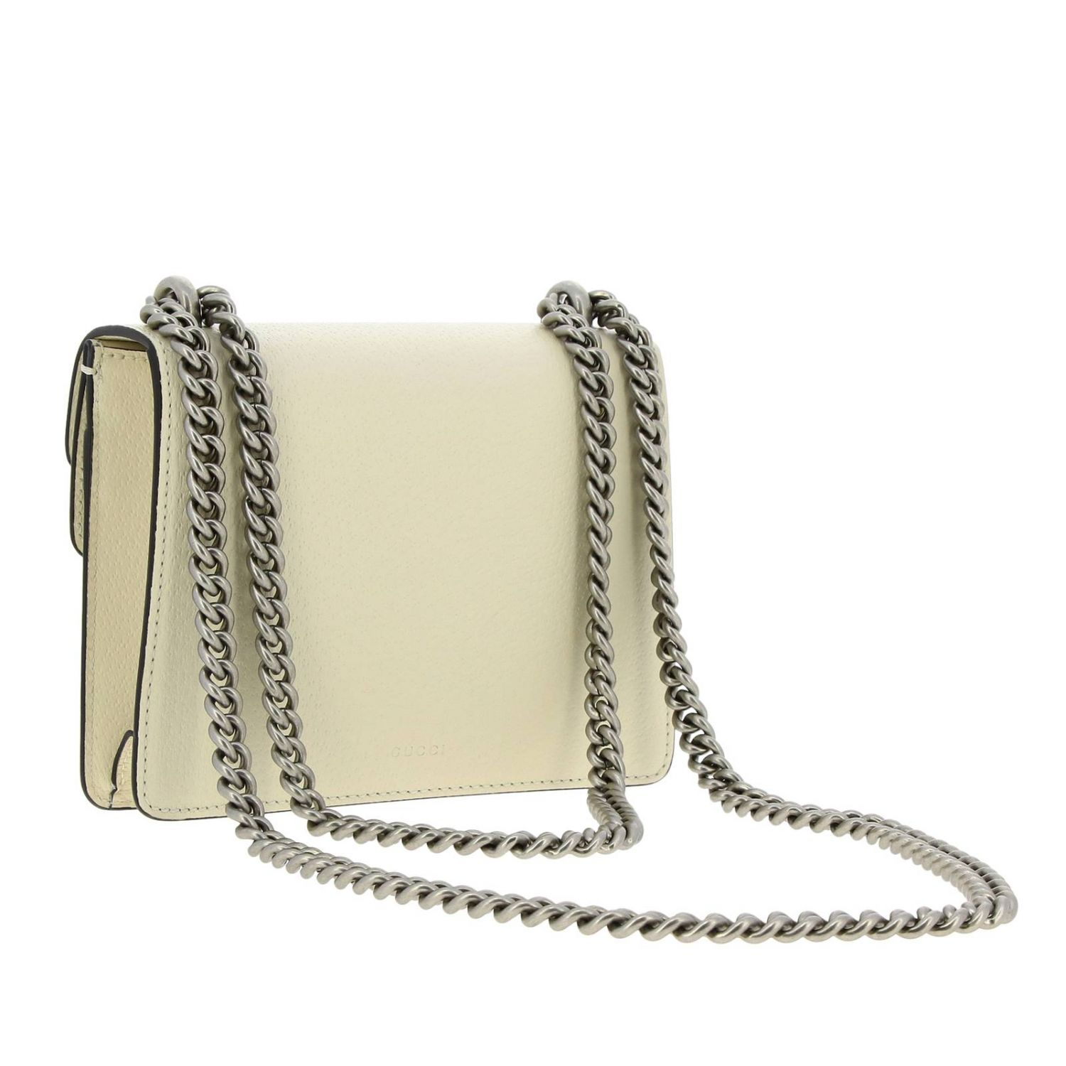 Dionysus mini bag in genuine fancy leather with buckle with tiger heads and crystals white 2
