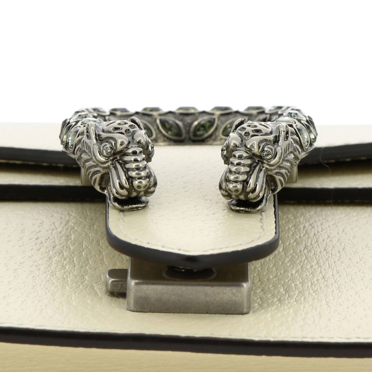 Dionysus mini bag in genuine fancy leather with buckle with tiger heads and crystals white 3