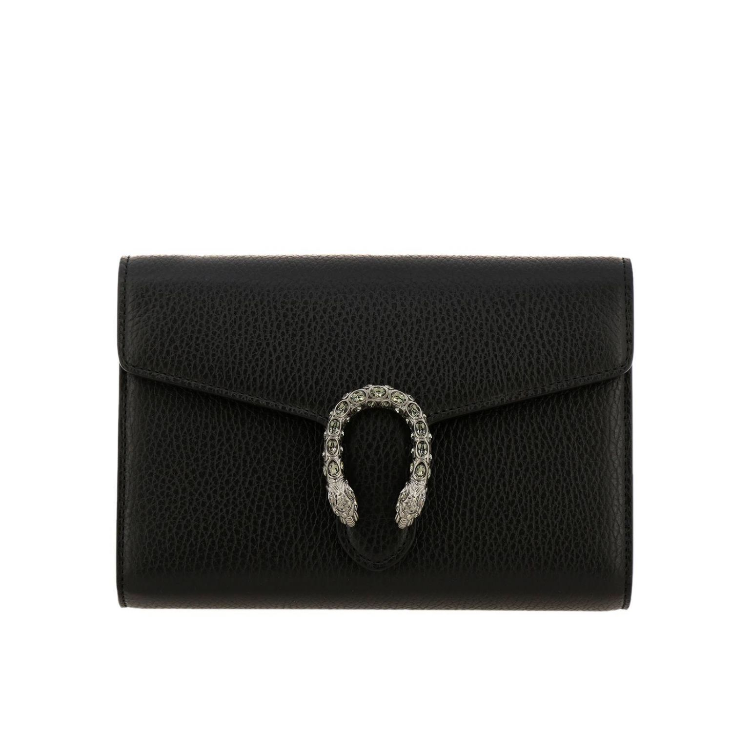 Mini bag Gucci: Dionysus mini genuine hammered leather bag with buckle with tiger heads and crystals black 1