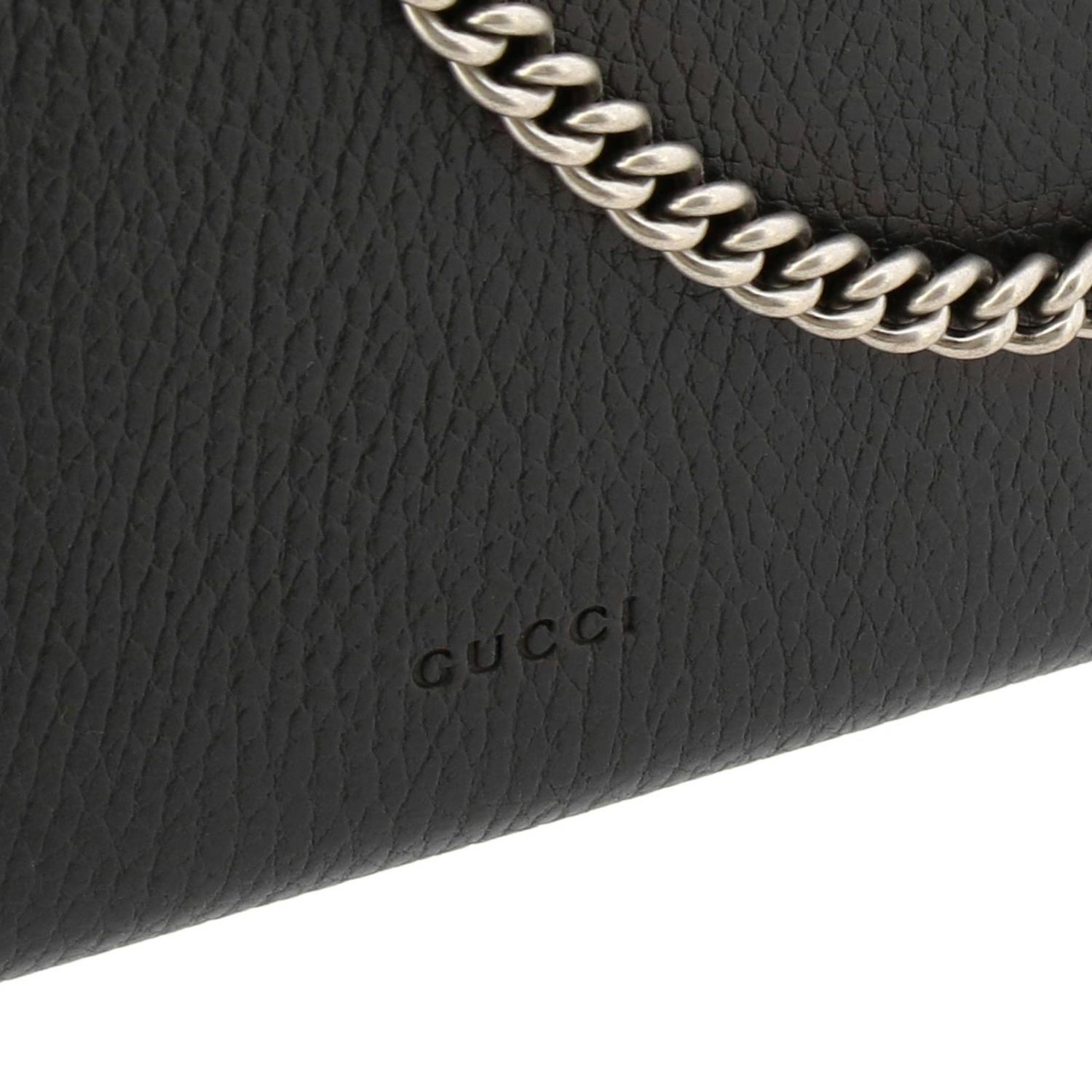 Mini bag Gucci: Dionysus mini genuine hammered leather bag with buckle with tiger heads and crystals black 4