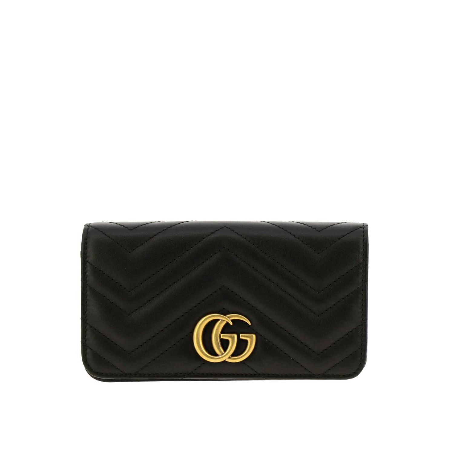 Mini bag Gucci: GG Marmont Gucci genuine quilted leather handbag with chevron pattern black 1