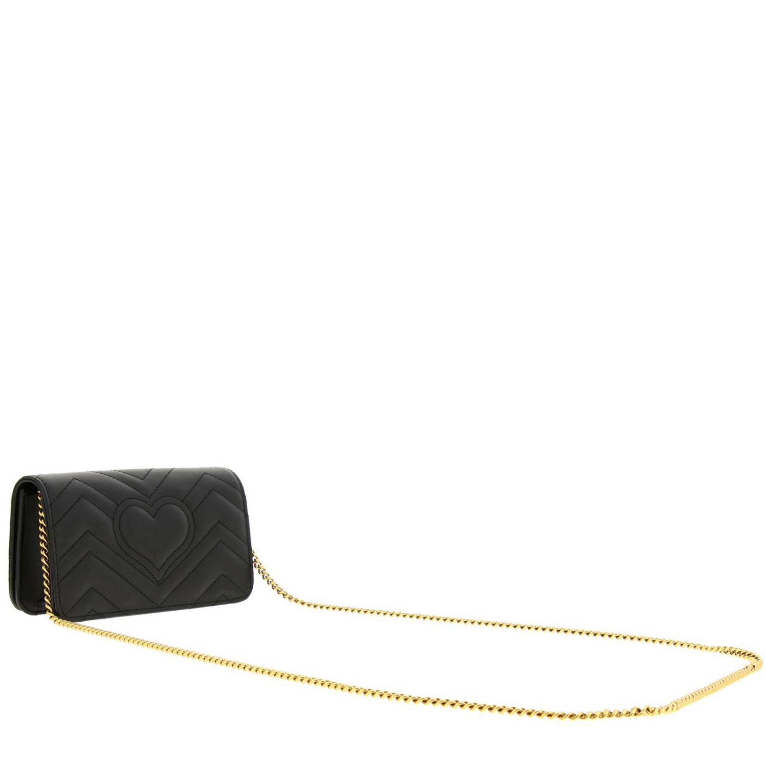 Mini bag Gucci: GG Marmont Gucci genuine quilted leather handbag with chevron pattern black 3