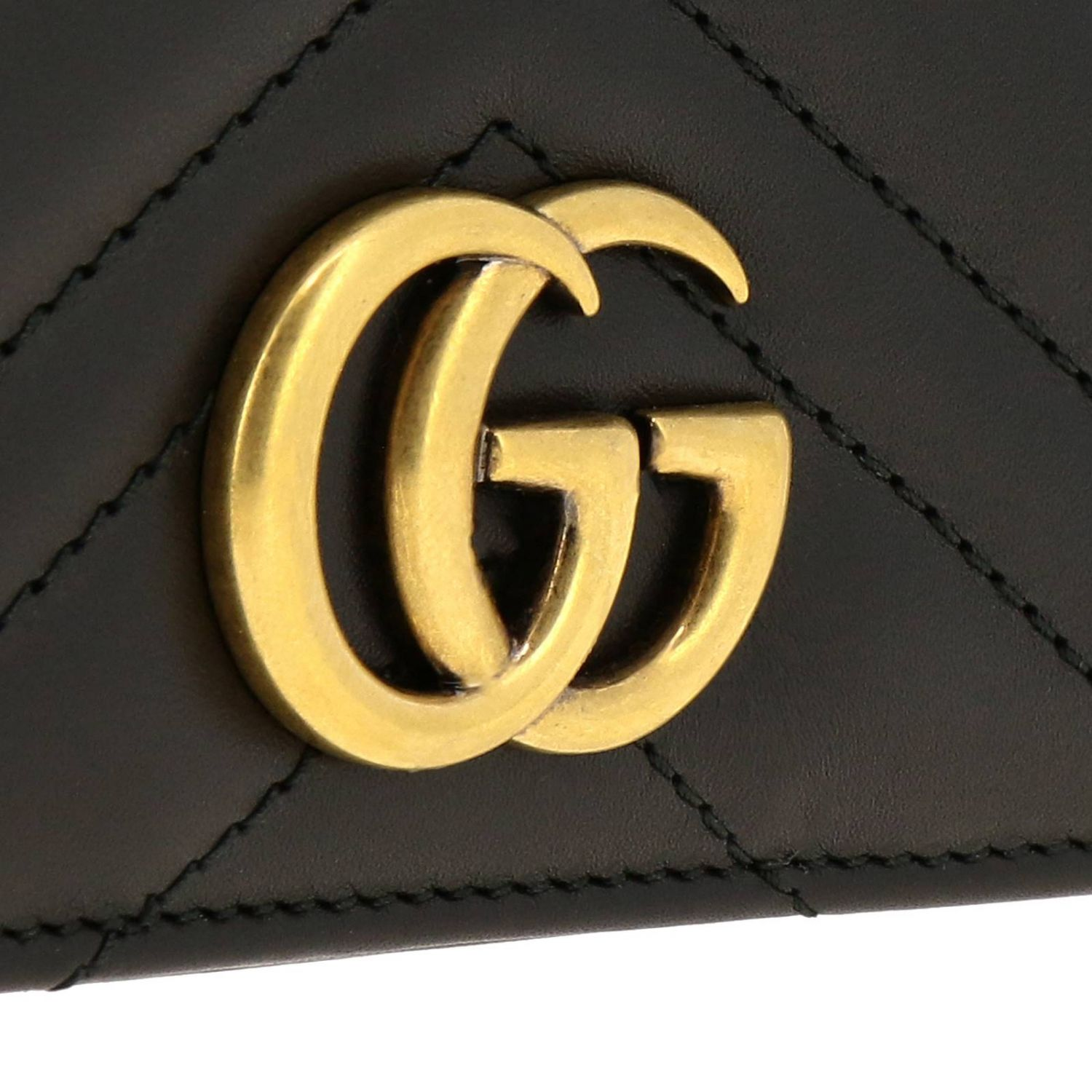 Mini bag Gucci: GG Marmont Gucci genuine quilted leather handbag with chevron pattern black 4
