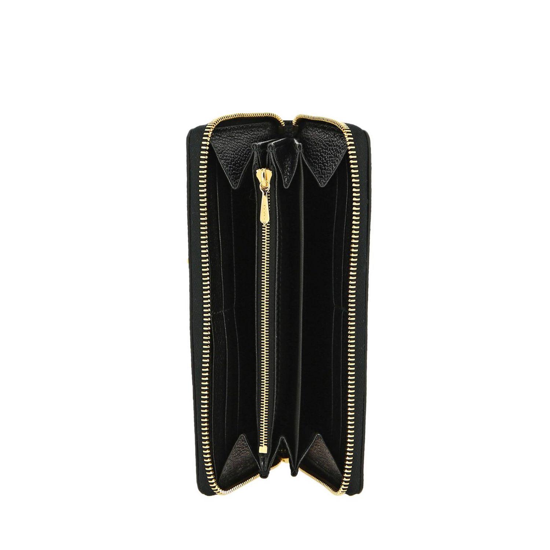 Portafoglio zumi Gucci continentale in pelle martellata con monogramma GG bicolor nero 2