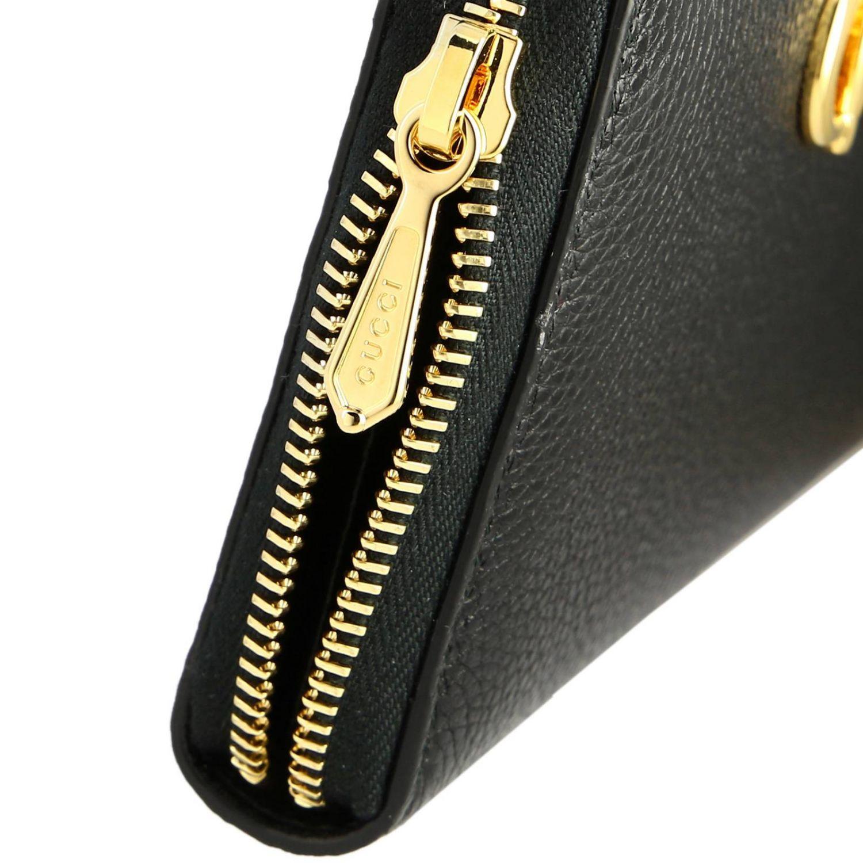 Portafoglio zumi Gucci continentale in pelle martellata con monogramma GG bicolor nero 4