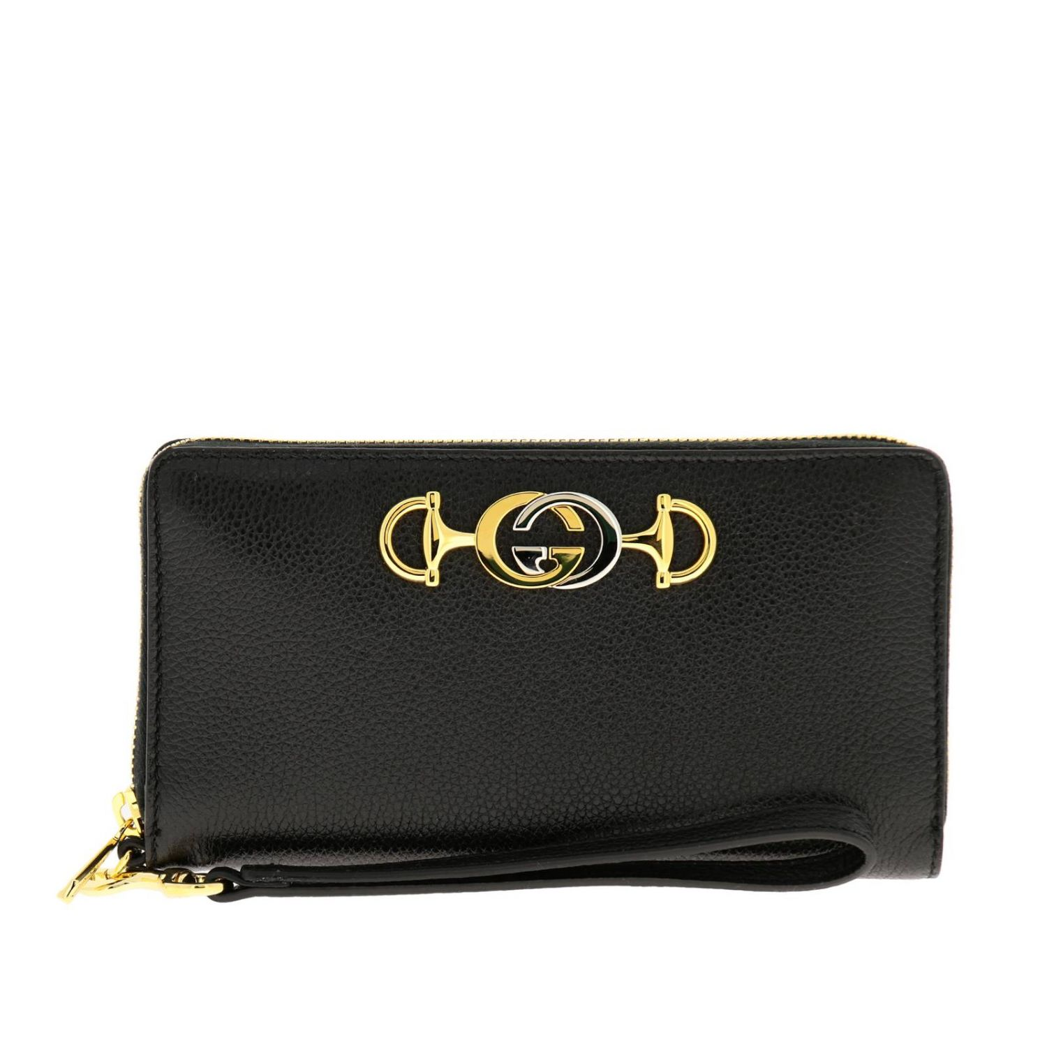 Wallet Gucci: Gucci continental hammered leather walletwith bicolor GG monogram black 1