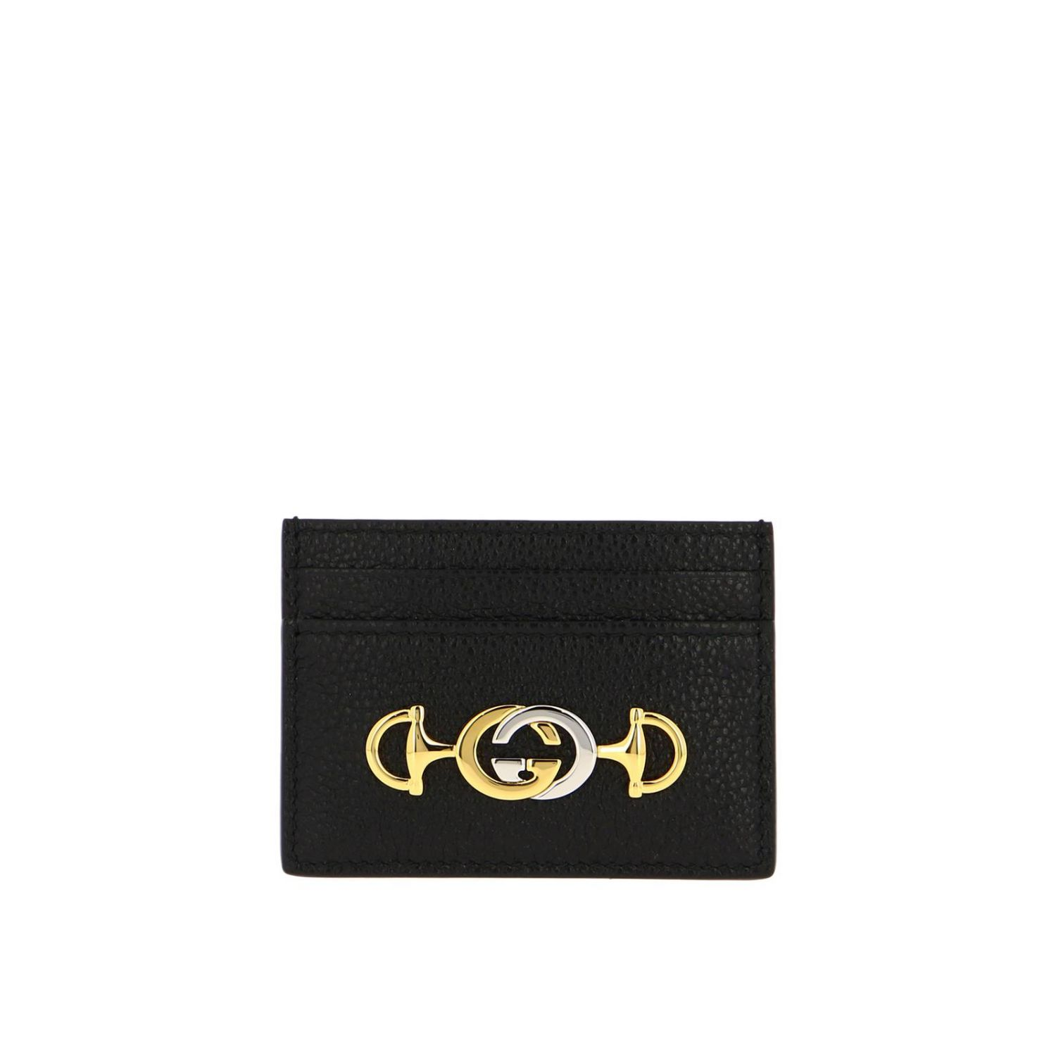 Wallet Gucci: Card holder in hammered leather with Gucci bicolor monogram black 1