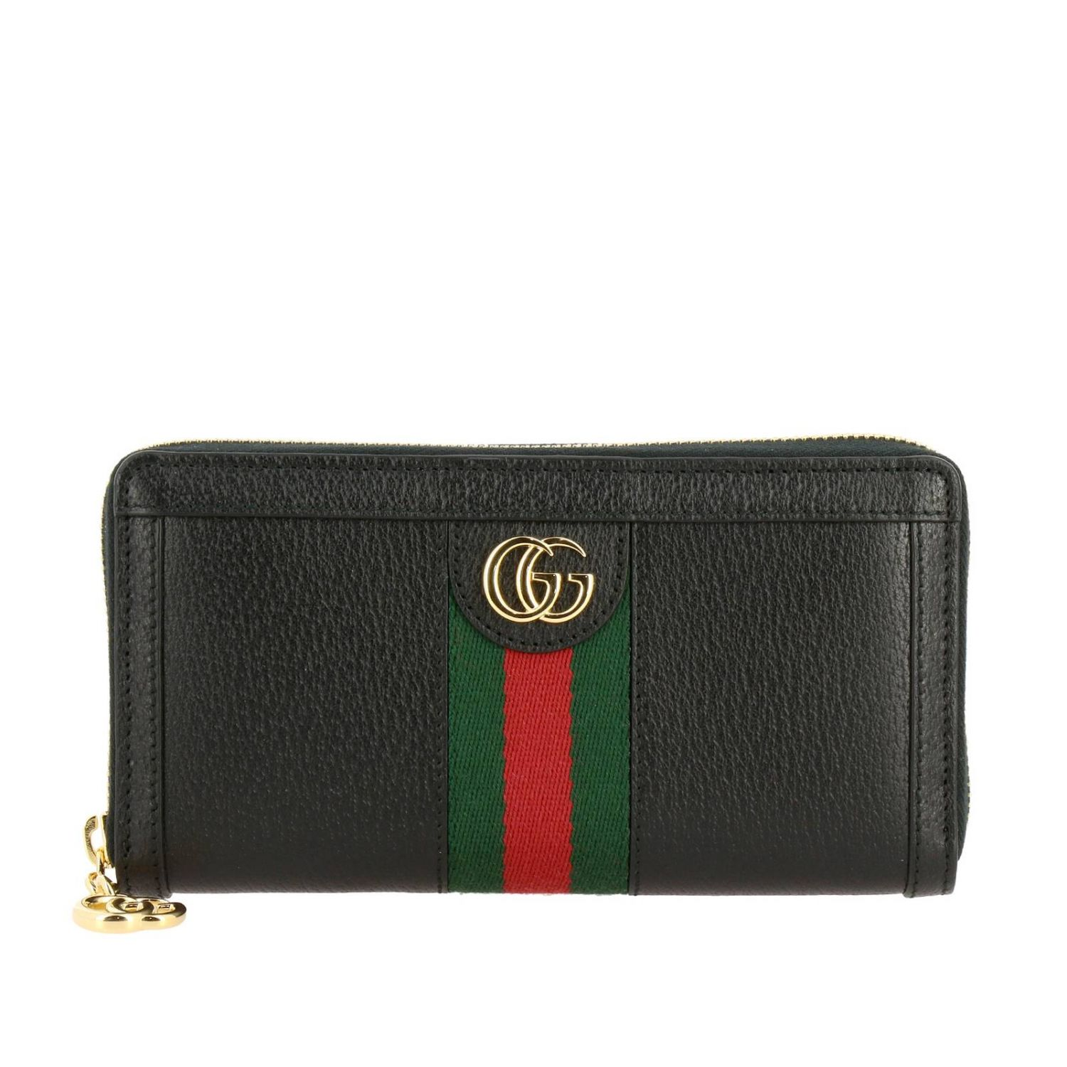 Wallet Gucci: Ophidia Gucci textured leather wallet with Web band and GG monogram black 1