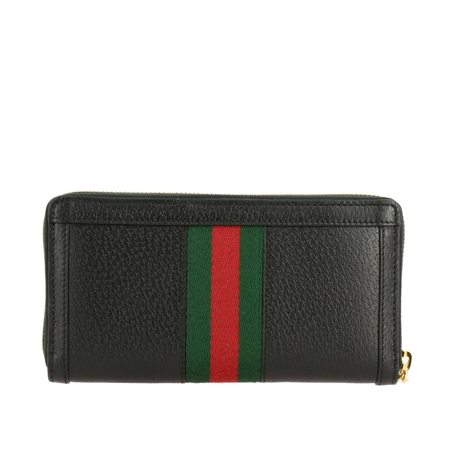 Wallet Gucci: Ophidia Gucci textured leather wallet with Web band and GG monogram black 3
